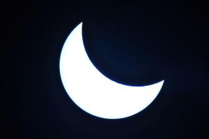 Delni sončev mrk posnet s teleskopom C8 in focal reducer-jem z Mylar folijo.